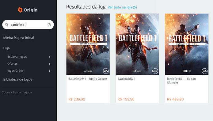 Procure o Battlefield 1 no Origin (Foto: Reprodução/Murilo Molina)