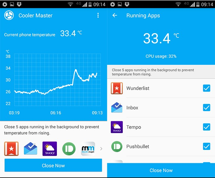 Além da temperatura, o Cooler Master mostra quais os apps estão abertos em segundo plano (Reprodução)