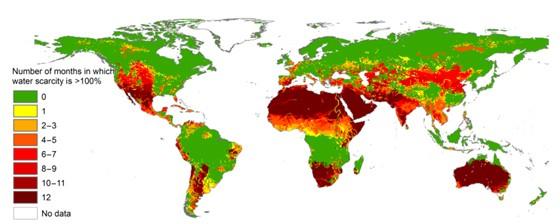 Mapa mostra quantidade de meses que cada região do mundo enfrenta escassez de água (Foto: Reprodução)