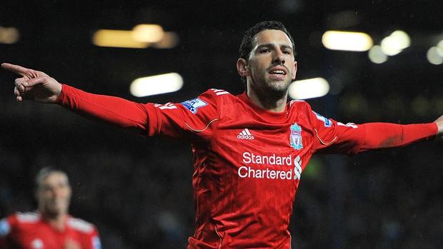 Maxi Rodríguez comemorando - Liverpool x Blackburn (Foto: Ag. AFP)