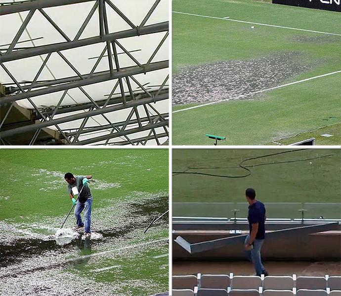 Montagem Mineirão chuva pedaços cobertura (Foto: Reprodução)