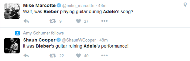 Fãs e músicos acusaram Justin Bieber de atrapalhar apresentação de Adele no Grammy (Foto: Reprodução/Twitter)