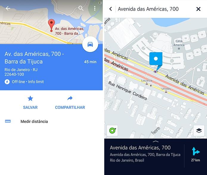 Google Maps e Here mostram o local pesquisado mesmo desconectados da Web (Foto: Reprodução/Elson de Souza)