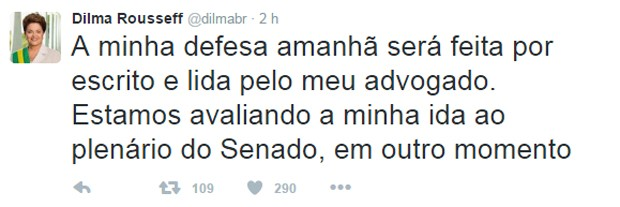 Dilma disse no Twitter que fará sua defesa na comissão do impeachment por escrito (Foto: Reprodução/Twitter)