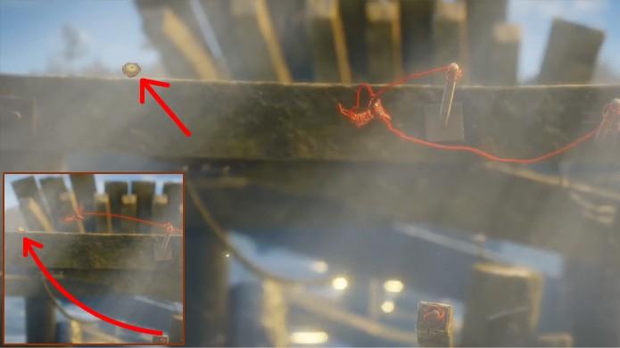 O quarto botão nesta fase de Unravel é um pouco complicado de se obter (Foto: Reprodução/Rafael Monteiro)