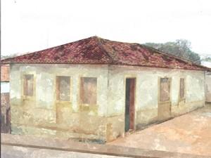 Casa do Pelé cenografada em aquarela (Foto: Secretaria de Cultura e Turismo de Três Corações)