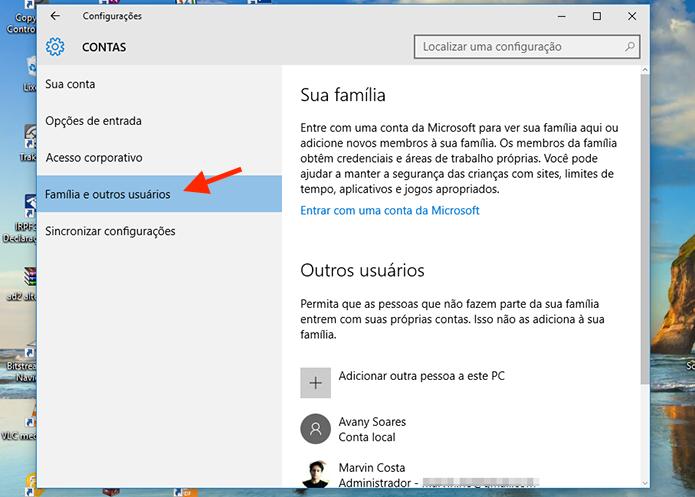 Acessando as opções para usuários do Windows 10 (Foto: Reprodução/Marvin Costa)