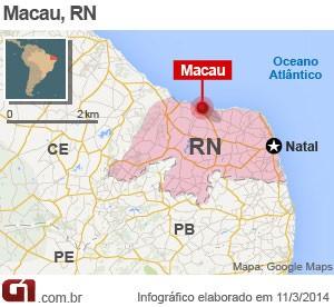 Macau fica no litoral Norte potiguar (Foto: Arte/G1)