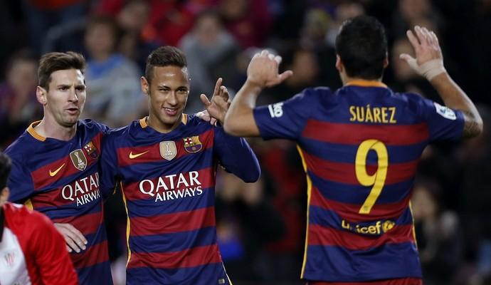 Neymar, Luis Suárez Messi Barcelona x Athletic Bilbao (Foto: EFE)