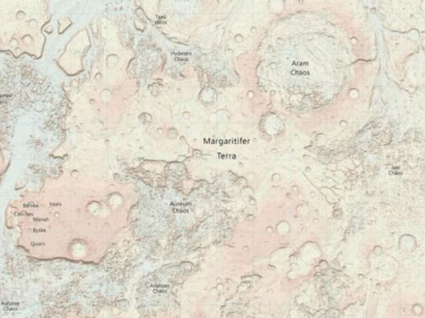Mapa foi produzido a pedido de cientista que planeja viagem a Marte (Foto: Ordnance Survey )