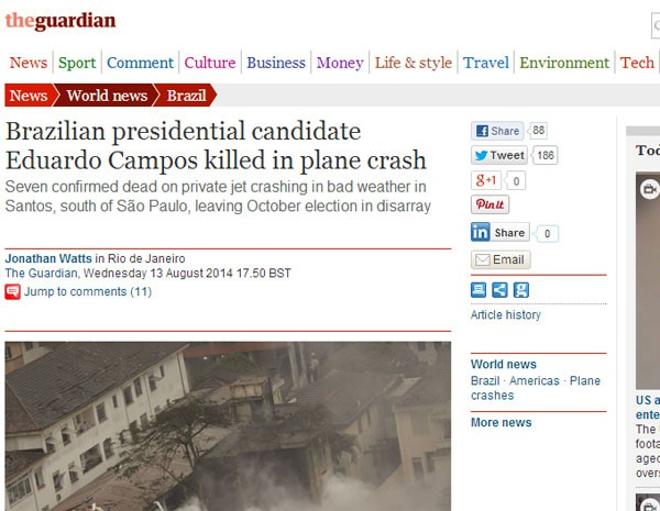 The Guardian noticia morte de Eduardo Campos. (Foto: Reprodução)