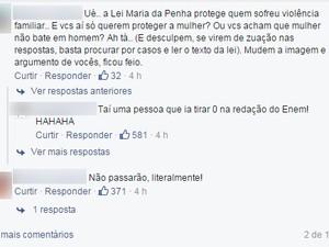Site criado na internet reúne comentários críticas ao tema da redação do Enem 2015 (Foto: Reprodução/Facebook)