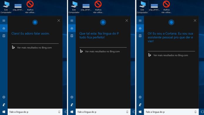 Cortana também sabe falar a língua do P com o usuário do Windows 10 (Foto: Reprodução/Elson de Souza)