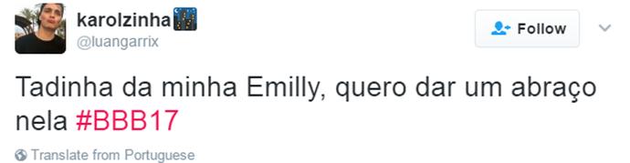 Tweet Emilly (Foto: Reprodução da Internet)