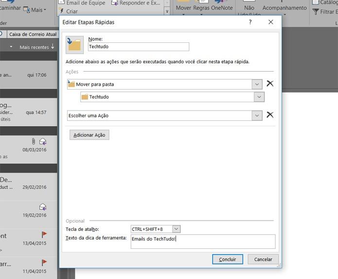 Etapas rápidas permitem a configuração de atalhos para uma série de tarefas (Foto: Reprodução/Filipe Garrett)