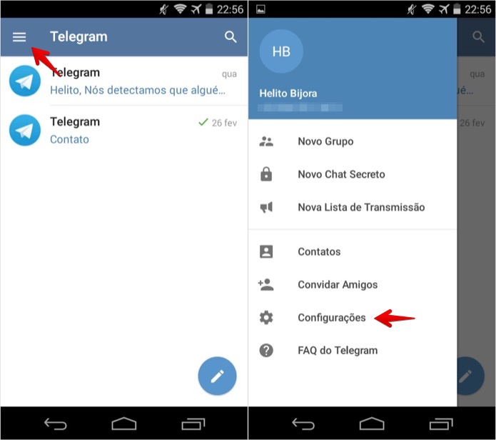 Acesse as configurações do aplicativo (Foto: Reprodução/Helito Bijora)