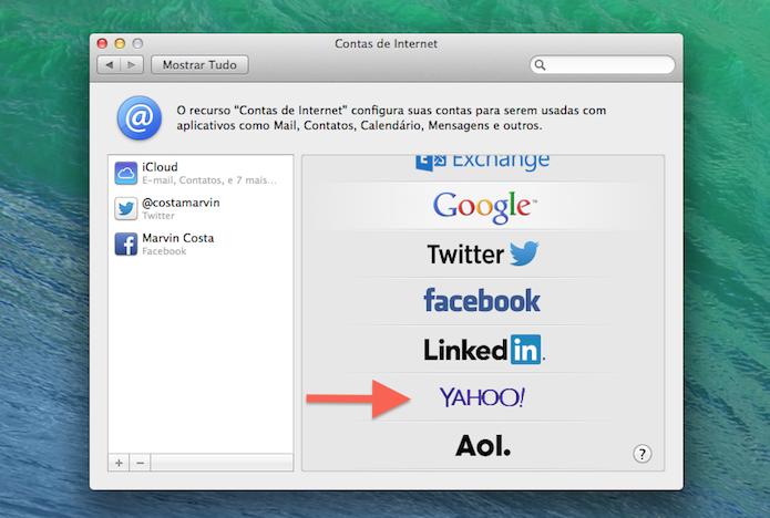 Escolhendo o serviço de e-mail que será vinculado ao Mac OS X (Foto: Reprodução/Marvin Costa)
