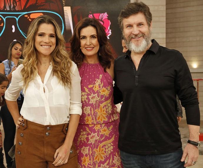 Ingrid Guimarães, Fátima e Antonio Calloni nos bastidores do 'Encontro' (Foto: Raphael Dias/Gshow)