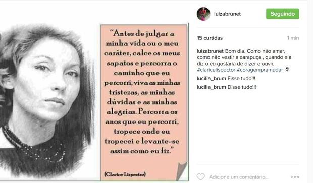 Luiza Brunet faz post em rede social (Foto: Reprodução / Instagram)