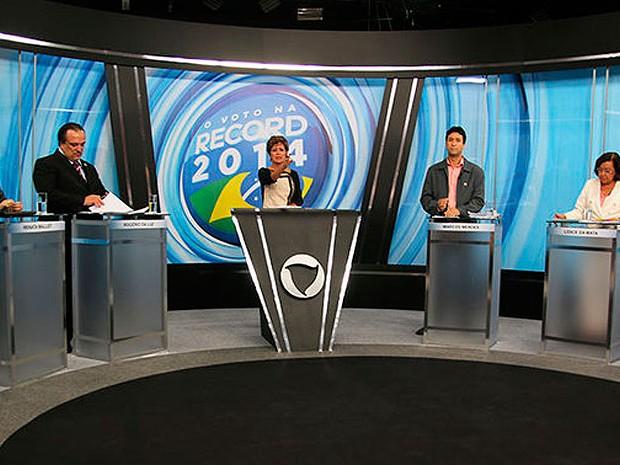 Candidatos ao governo da Bahia m debate na TV Itapoan/ Record Bahia, em Salvador; (Foto: Divulgação/ CR Fotografia)