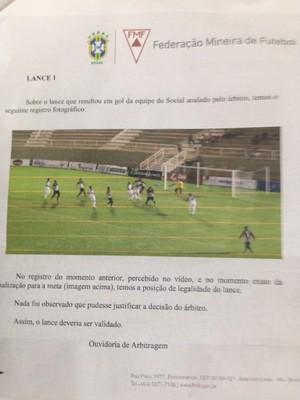 Documento da FMF aponta erro da arbitragem (Foto: Divulgação)