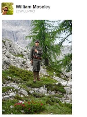 Ator William Moseley nas Dolomitas, cadeia montanhosa na Itália (Foto: Reprodução/Twitter)