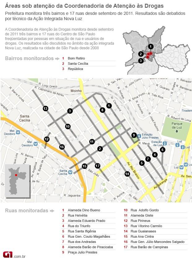Mapa da Cracolândia atualizado (Foto: Editoria de Arte/G1)