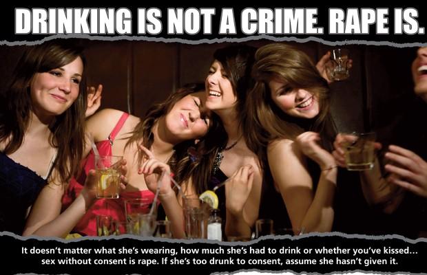 Campanha da polícia de Manchester enfatiza que beber não crime, mas estupro é (Foto: Polícia de Manchester)
