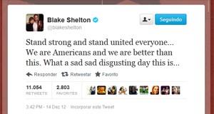 Cantor Blake Shelton comenta o tiroteio (Foto: Reprodução)