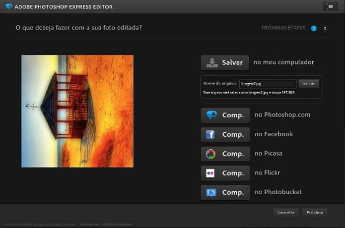Salve a imagem final no Photoshop Express (Foto: Reprodução/Raquel Freire)