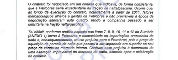 Trecho do documento enviado pelos advogados da Petrobras à operacão Lava Jato sobre contrato de nafta da Braskem
