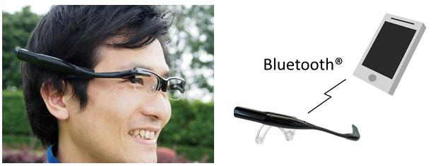 Óculos de realidade aumentada da Olympus se conecta a um smarthone por meio da conexão Bluetooth  (Foto: Divulgação)