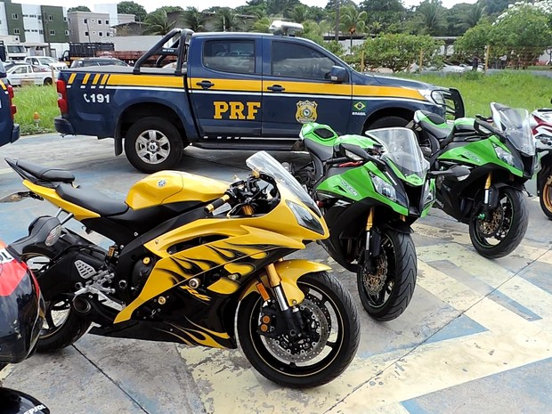 Motocicletas apreendidas durante Operação Velocidade Limitada II, na Paraíba (Foto: Divulgação/PRFPB)