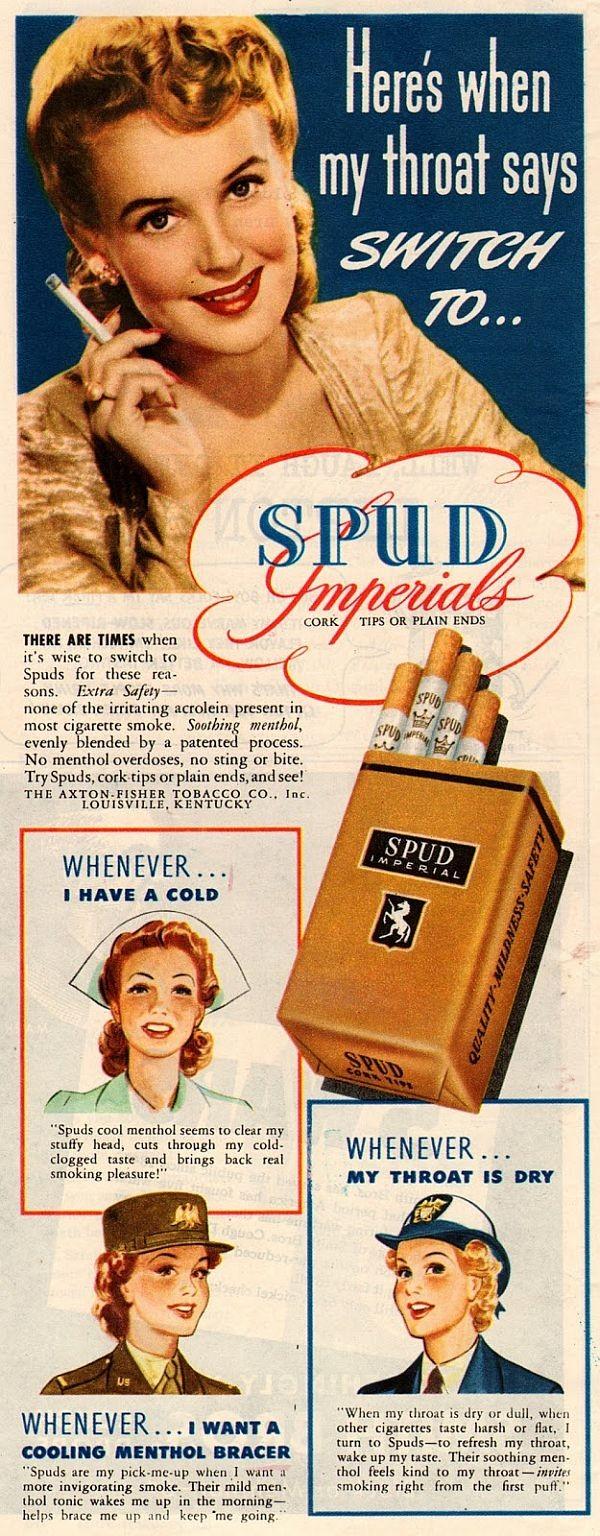 Anúncio antigo oferece cigarro como remédio para gripe e garganta (Foto: Reprodução)