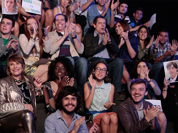 Parentes e amigos dos candidatos torcem na plateia (Foto: Parker TV)