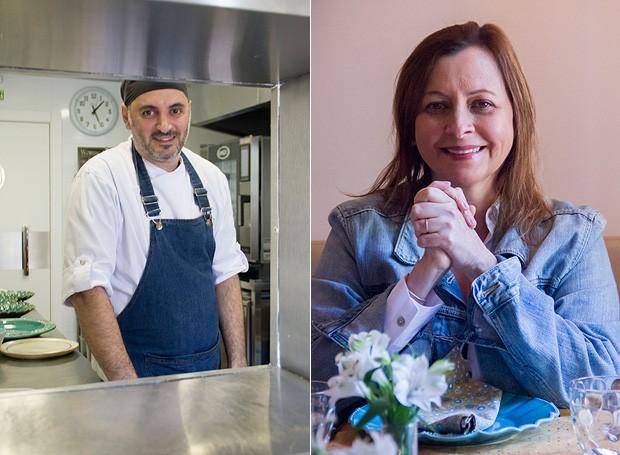 o chef Mário Galluzzi e a chef Carla Pernambuco (Foto: Márcia Evangelista/ Editora Globo)
