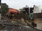 Caminhão tomba ao se chocar com barreira de contenção em Santos, SP