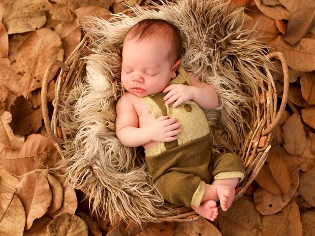 O bebê Gabriel é fotografado em um cestinho de palha (Foto: Sheyla Pinheiro/Reprodução)