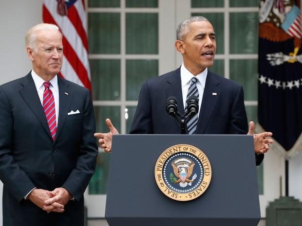 Presidente Barack Obama discursa após derrota da democrata Hillary Clinton para o republicano Donald Trump nas eleições presidenciais dos EUA (Foto: Associated Press)