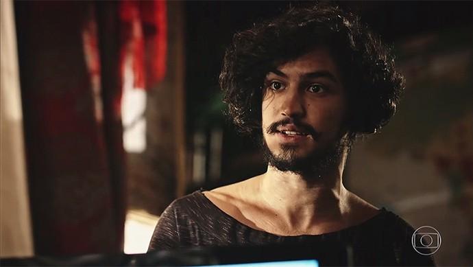 Miguel aposta que Carlos está com ciúmes  (Foto: TV Globo)