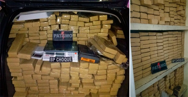 Droga, balanças e documentos apreendidos foram levados para a Delegacia de Plantão da Zona Sul de Natal (Foto: Divulgação/Polícia Militar do RN)