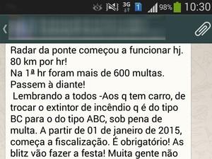 Mensagens instantâneas via celular alertam sobre falso radar (Foto: Reprodução/WhatsApp)
