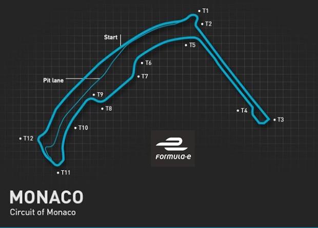 Mapa do traçado da Fórmula E em Mônaco (Foto: Divulgação/FIA Formula E)