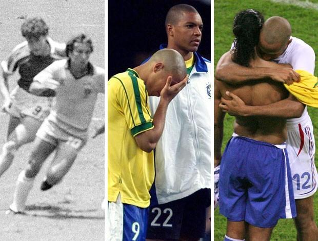 MONTAGEM - Zico 1986, Ronaldo 1996, Ronaldnho 2006 brasil contra a França (Foto: Editoria de arte)