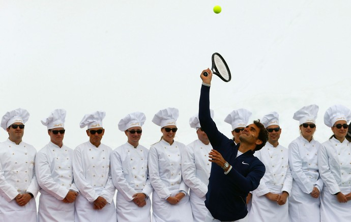 Tênis Roger Federer e Lindsey Vonn evento promocional na Jungfraujoch (Foto: Agência Reuters)