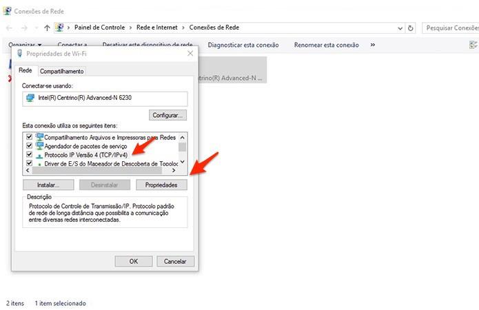 Acessando a tela de propriedades do protocolo TCP/IP (Foto: Reprodução/Alessandro Junior)
