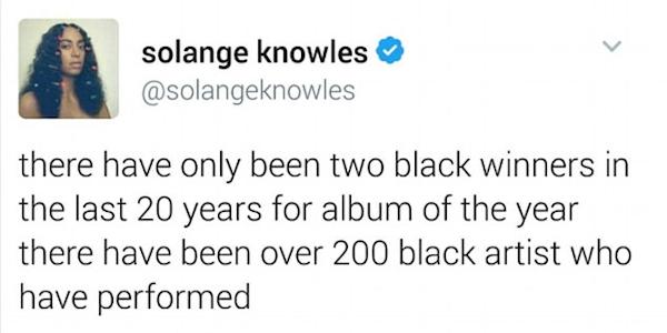 A mensagem publicada por Solange Knowles no Twitter e logo depois apagada (Foto: Twitter)