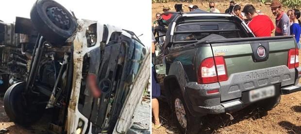 Vítimas do acidente estavam no Fiat Strada, que colidiu com caminhão-caçamba (Foto: PRF/Divulgação)