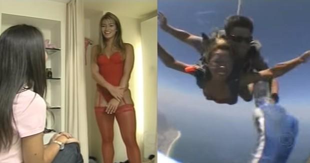 Fani salta de paraquedas usando apenas lingerie (Foto: TV Globo)