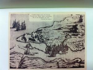 Gravura da época: o mais antigo mapa da cidade elaborado em 1633 (Foto: Caroline Holder/G1)